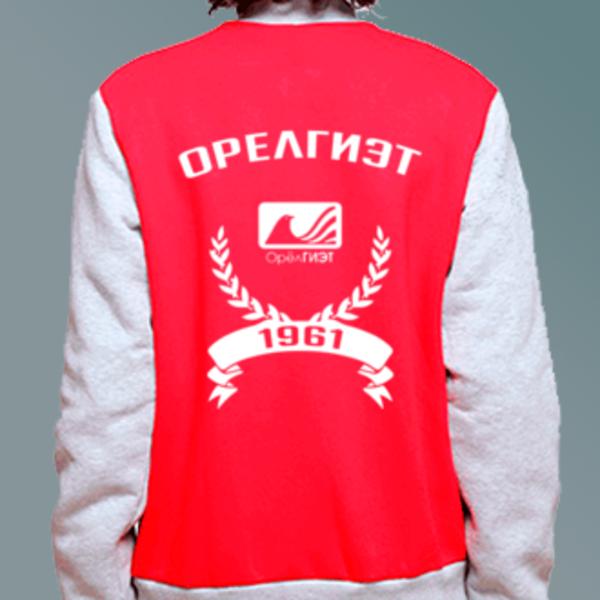 Бомбер с логотипом Орловский государственный институт экономики и торговли (ОрелГИЭТ)