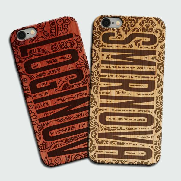 Деревянный чехол с фамилией для iPhone (Айфон) на заказ