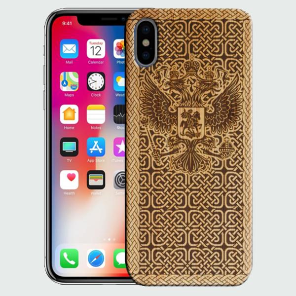 создать деревянный чехол для для Apple Iphone X на заказ с фото